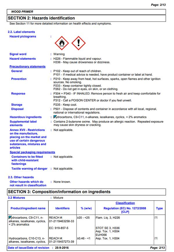 safety data sheet example